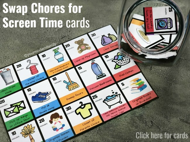 Swap Chores for Screen Time Cards (no more confusing chore charts for kids. These age-appropriate chores for kids are perfect. They are the chores for kids by age (toddler chores up to teenager chores) & how we use them without using a confusing chore chart.