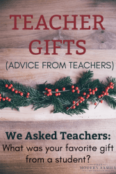 "Are you thinking about what to give your child's teacher for the holidays?  I was a teacher and I can honestly tell you that the gift that I remember the most was given to me about 15 years ago, from one of my first-grade students named Stephanie.   Her family struggled financially, but she wanted to give me a gift. She found an old ornament (an unpainted clay snowman) and she colored on it.  She wrote her name on it and she glued a picture of herself to the snowman.  She used thread to add a loop so I could hang it on my Christmas tree.  She gave it to me with a picture that she drew that said: ""I love you, Mrs. Mansfield."" That ornament is still hanging on our Christmas tree & every year I tell my own children about her.  A gift does not have to be expensive to be special... the most special gift cost nothing at all. This year, I asked the teachers from my Facebook Page what their favorite past gifts from students have been.  Here are their top seven suggestions on what to get a teacher for the holidays. Which ones will you choose? Gifts for Teachers for the Holidays A Letter of Appreciation When we think about all of the things that teachers do for our kids day in and day out, a letter of appreciation sounds like such a small thing. For many teachers though, a letter of appreciation can mean the world: ""The best gift I could receive would be a letter of appreciation written by the parents or students,"" explained Nan, a retired teacher of 40 years. Nicole, a second-year teacher agreed. ""I'm a second-year teacher, but the notes and cards I have received are my most cherished presents,"" she said. Gift Cards Many teachers put gift cards at the top of their lists. However, instead of cards for teaching supply stores, they were more interested in cards for coffee shops and restaurants that were close to the school.  Since many teachers grab a bite after school with their co-workers or go out to lunch on Teacher Work Days, those local gift cards come in handy! Amazon gift cards were also a top contender. Tickets for an Outing for The Teacher's Family Although kids may not think they do, teachers have lives outside of school.  :)   If you have a friend in the class, go in on a gift together.   Tickets (or credit) to the zoo, a museum, the movies, or an amusement park for their entire family is a great idea! No Scented Items Although this is something that they don't want, many teachers emphatically stated that they didn't want lotions, candles, soaps, perfumes, or anything with a scent. Many of them cited allergies and explained that they often had to give away the bath and beauty products they received. So, if you're going with the pampering approach, make sure everything is unscented! Gift Cards for Manicures or Pedicures Teachers are on their feet all day long, so a relaxing manicure or pedicure is a fabulous way to pamper them. Check with reputable shops close to the school to see if they offer gift cards so that the teacher can stop to be pampered after a long week at school. Plants One of the suggestions that surprised us the most was plants! One teacher said that the best gift she ever got from the parents of her students was a small tree, gardening tools, gardening boots, a book, and tea. Another said that plants were always welcome because she could enjoy them at home during the summer and hang them up in the classroom for some fresh air during the year. If you're not sure what type of plants to get, perhaps get a gift card for a local garden center. Membership to a CSA CSA's or crop sharing groups are memberships to local farms who divide their harvest bounty each week between members. This gives members fresh produce all year long and is a great gift with long-lasting health benefits. Memberships can be pricey though, so you may want to have other parents chip in. Be sure to get a membership to a farm that's convenient to your teacher's house as well! No matter what you give them, the overwhelming sentiment from all of our teachers was that it's truly the thought that counts. Knowing that you appreciate them and that you value their role in your child's life makes for the best gift of all."