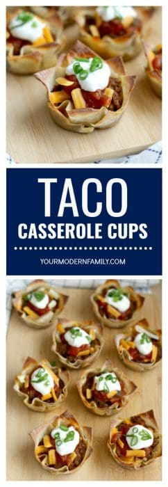 Two photos of Taco Casserole Cups with text between them.