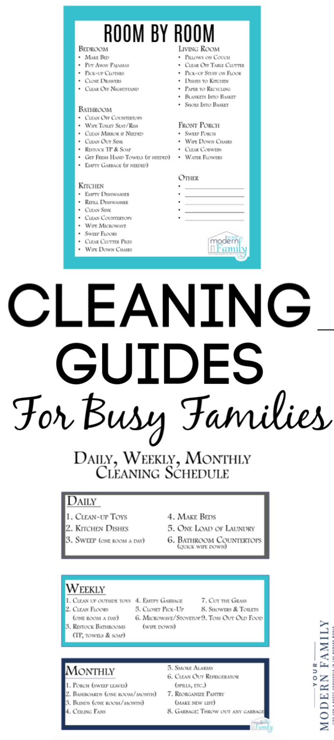 Cleaning and Family cleaning schedule to print for free