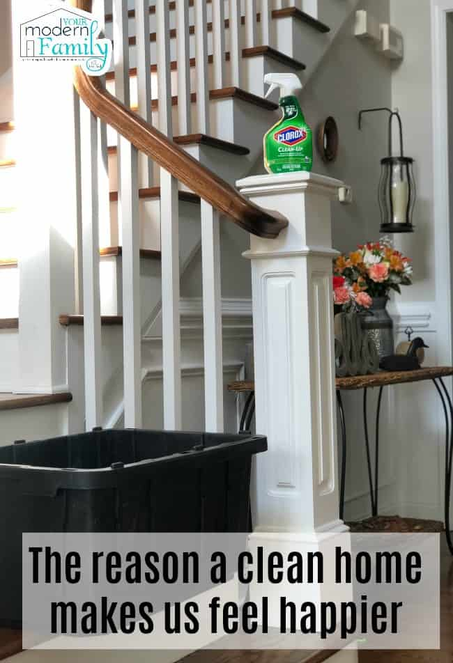 A black plastic container sitting on the bottom step with a bottle of spray Clorox resting on the railing.