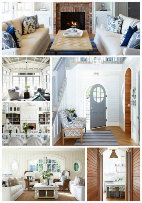 A collage of pictures of coastal themed rooms.