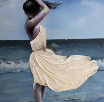 A painting of a lady standing on the beach with the breeze blowing her hair and dress.