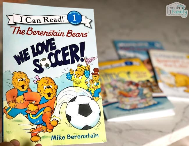 A close up of children\'s books on a table.