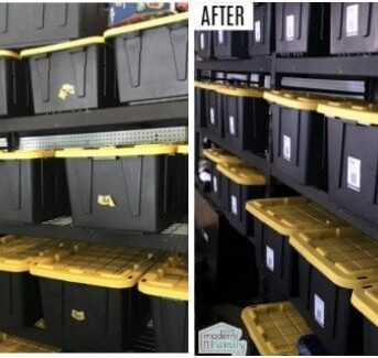 A split screen of numerous large black plastic containers on shelves, one side is unorganized, the other is organized.