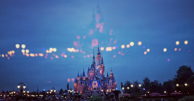 The castle in Disney World at night.