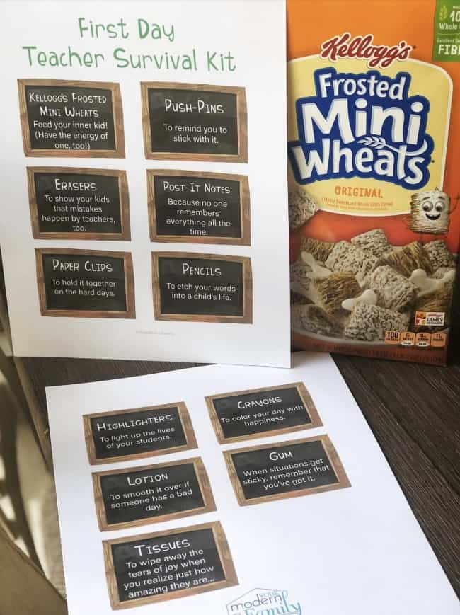 Close up of white papers with black squares with text on them with a box of mini wheats cereal behind them.