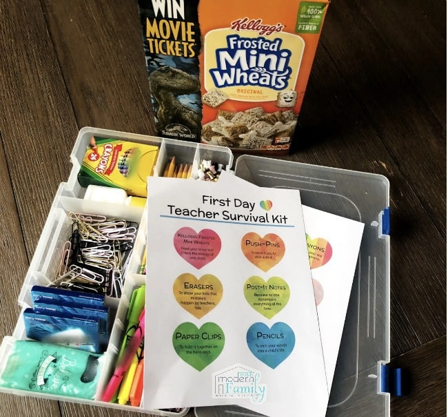 A box filled with different types of school supplies with a box of Mini Wheats in the background.