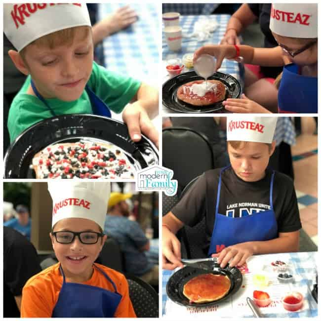 A collage of pictures of children in Krusteaz chef hats decorating pancakes.