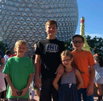 A group of people posing for the camera in front of the Epcot ball.