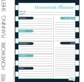 Homework and Organization sheet