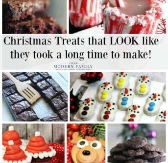 A group of photos of Christmas treats with a text dividing them.