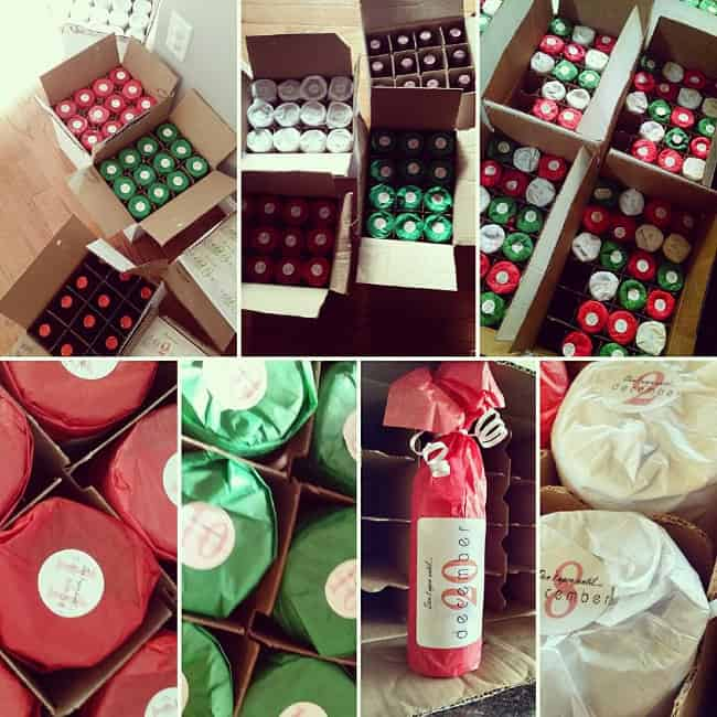 Variety of photos showing materials needed to construct a Wine Advent Calendar.