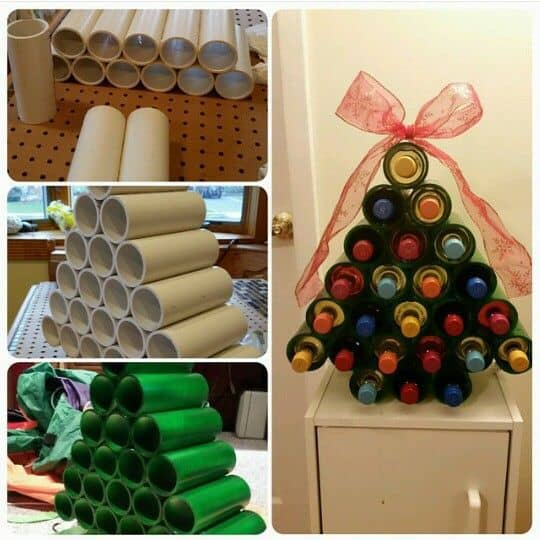 Pictures of a Wine Advent Calendar being constructed with the final product decorated with a red bow.