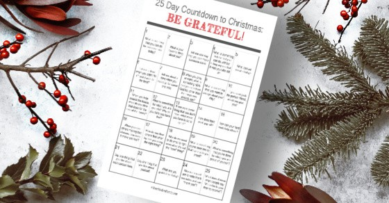 Free Calendar to teach children to be grateful! 25 random acts of kindness and gratefulness to raise children to be kind, caring and hard-working!