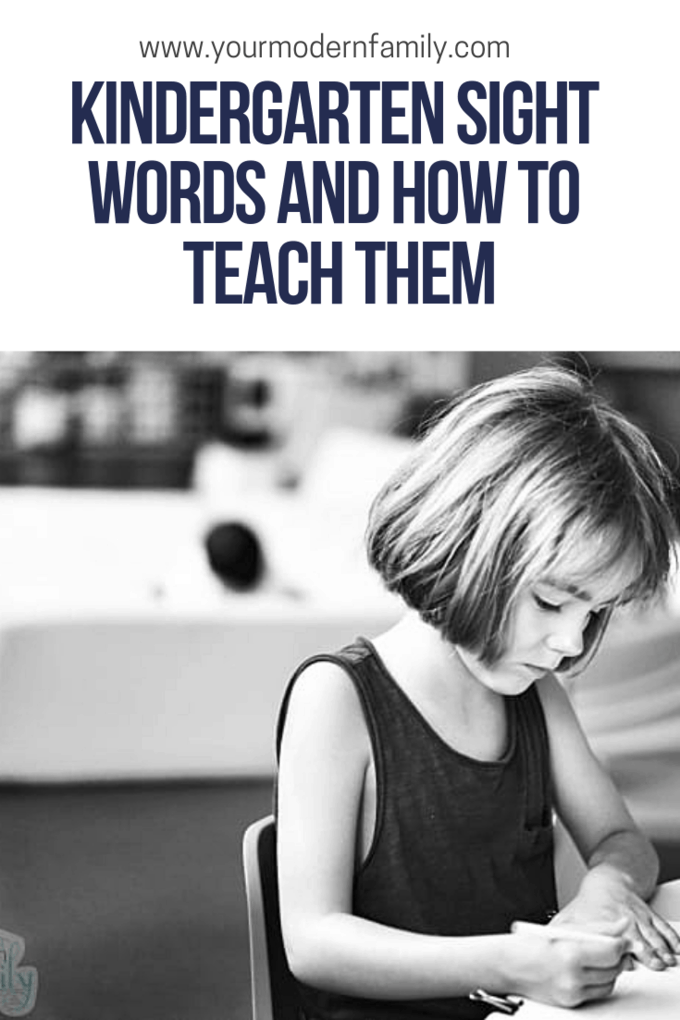 Free printable list of Kindergarten sight words