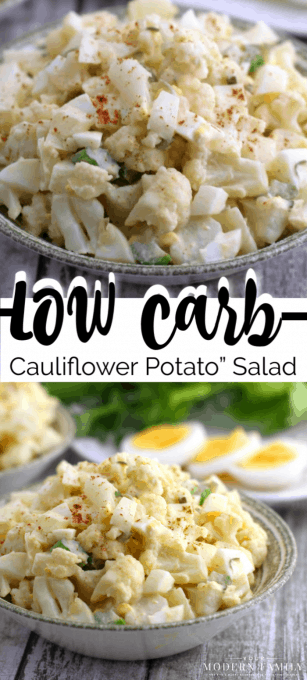 """Low Carb Cauliflower """"Potato"""" Salad is the perfect dish for a spring or summer dinner! It's light and taste amazing! (My husband's favorite dish!)"""