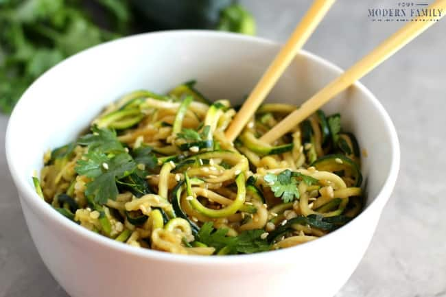 Raw Vegan Asian Zucchini Noodles (plant-based meals)