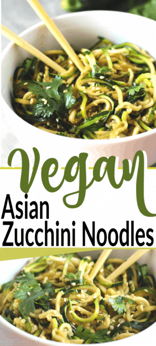 A bowl of Asian zucchini noodles in a white bowl with text in front of it.