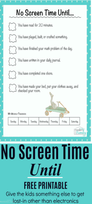 This is genius b/c it gives our kids something else to get lost in before they start on screentime. It takes the focus off of screentime & they end up playing, drawing, building, etc... #NoScreentimeUntil #BORED #kids #Screentime #ElectronicFreeZone