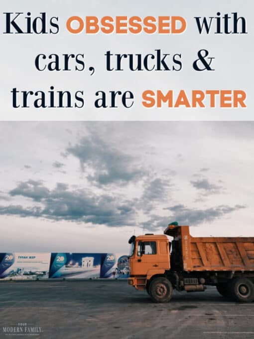 Text over a picture of a full size dump truck driving down the road.