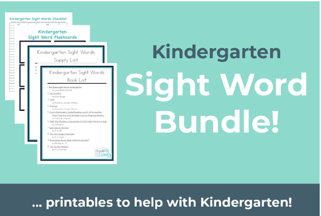 kindergarten sight words worksheet packet