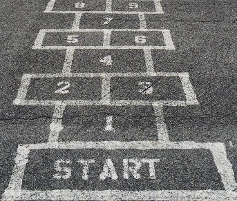 A hopscotch course painted on blacktop.