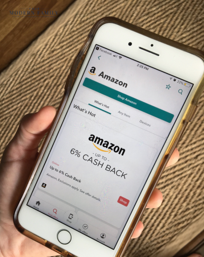 A cellphone with an app opened to Amazon.