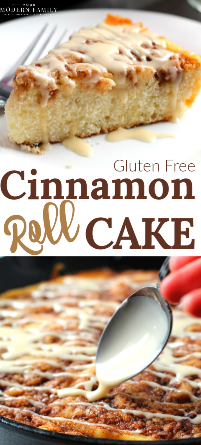 Gooey and delicious cinnamon roll skillet cake!