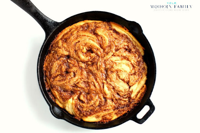 Pour the cinnamon sugar topping over the cinnamon roll skillet cake