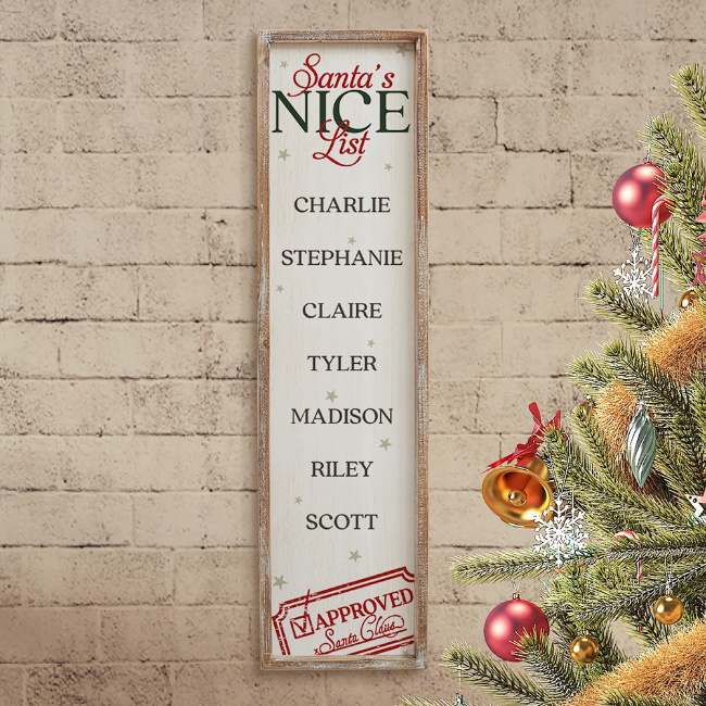 A close up of Santa\'s Nice List decoration hanging n the wall.