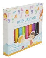 A close up of a box of bath crayons.