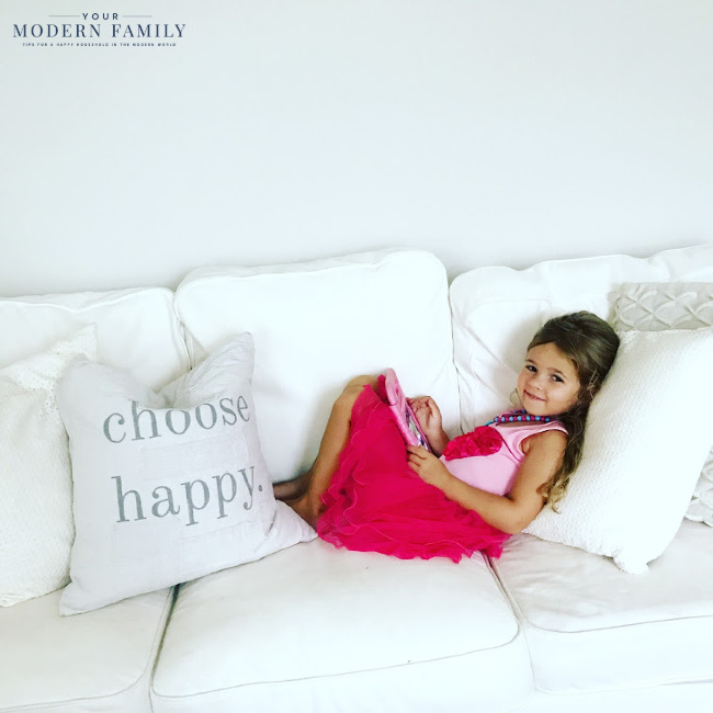 Choose Happy  - our little girl on couch (life is all about balance)