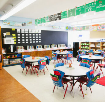 A picture of a school classroom.