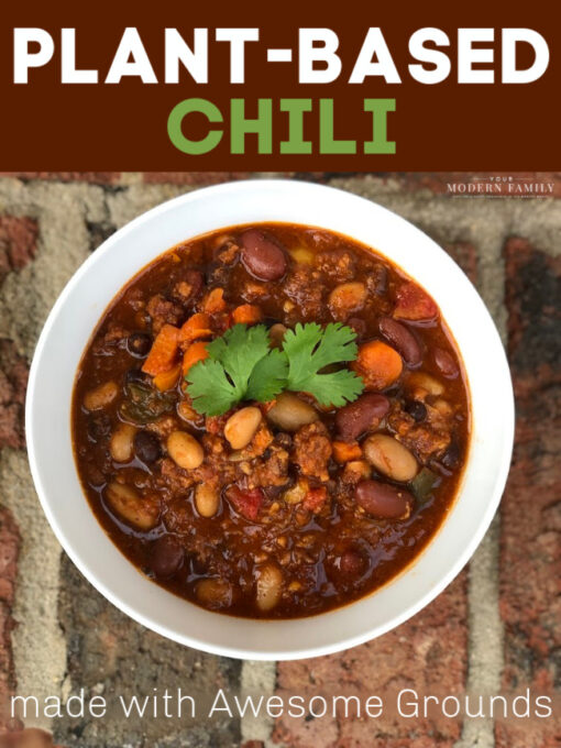 plant based chili with awesome grounds