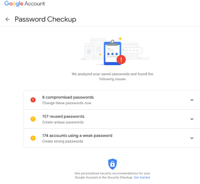 Screenshot of Password Checkup info.