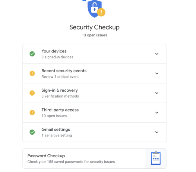 Screenshot of Security checkup information.