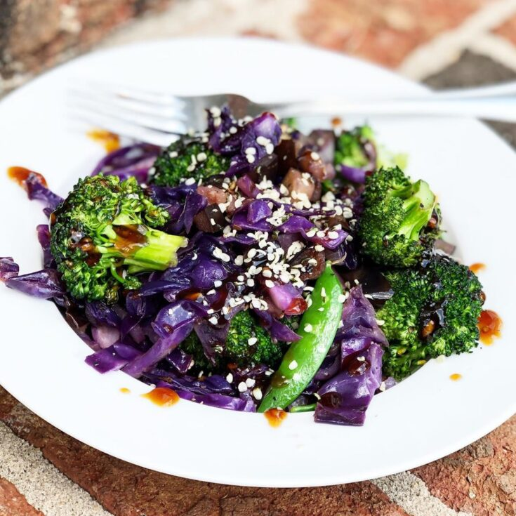 Red cabbage Bowl with snap peas, broccoli, diced eggplant, onions, coconut aminos & hemp seeds)