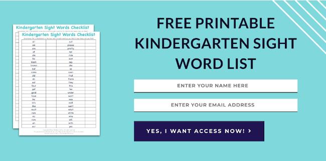 FREE Printable List Of Kindergarten Sight Words & How To Teach Them