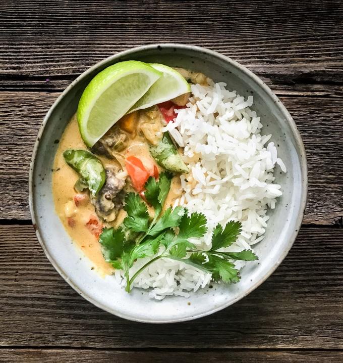 Vegetable Coconut Thai Curry Recipe with Jasmine Rice