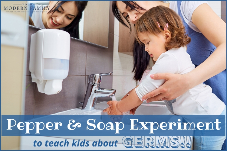 Adult teaching child the correct way to wash hands.