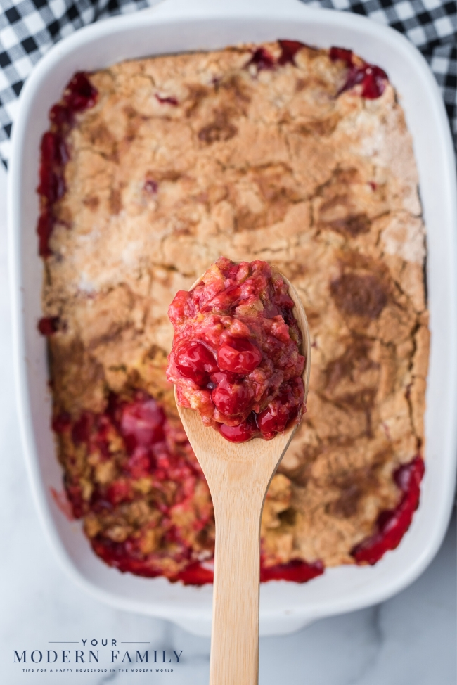 A plate of food with cherry dump cake