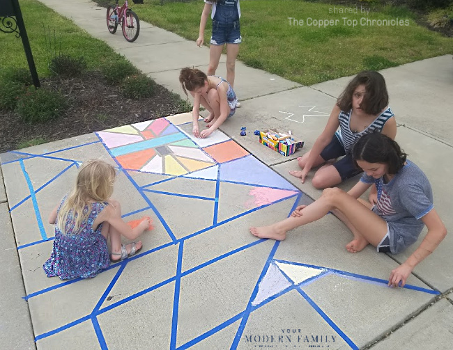Stained Glass Sidewalk Chalk Art with Kids