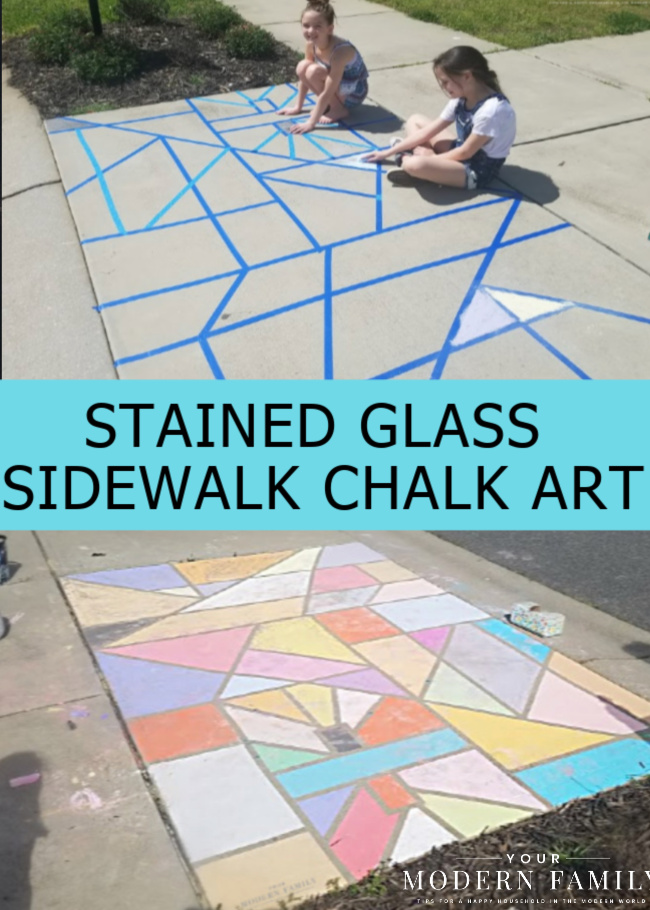Chalk Art - A fun Stained-Glass SIDEWALK CHALK IDEA!