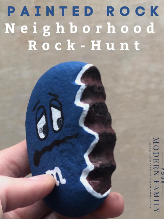 M&M painted rock for neighborhood rock hunt