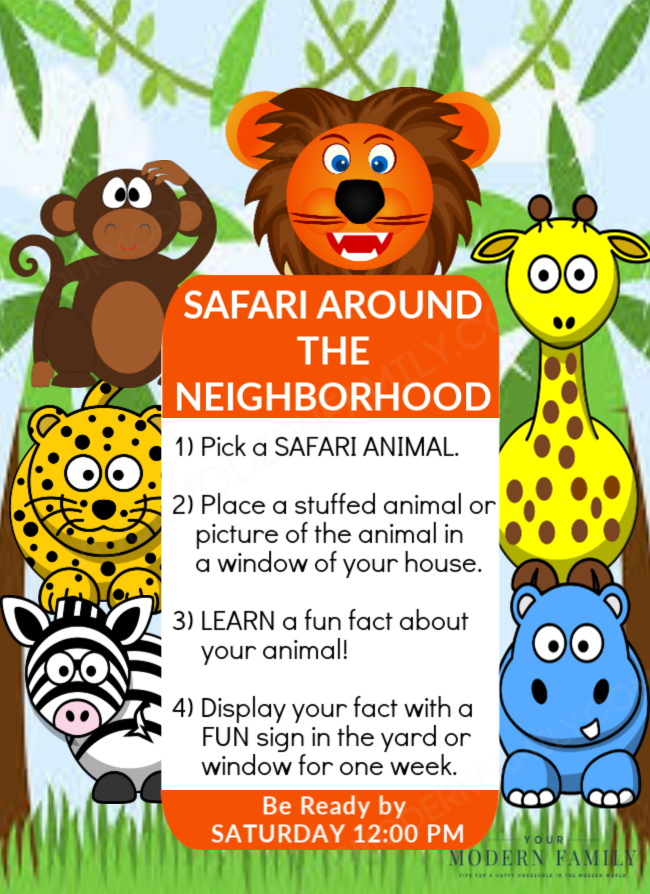 Safari Animal Hunt around the neighborhood