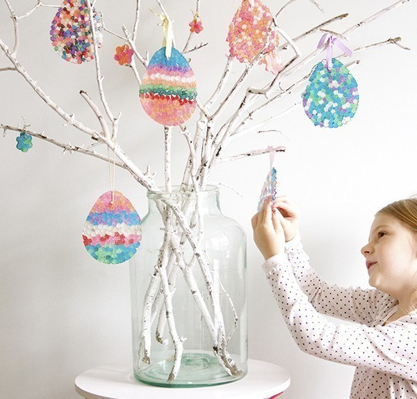 Easter egg tree with DIY sun catchers