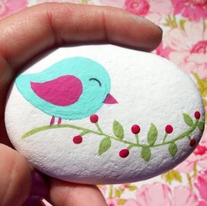 A painted rock.