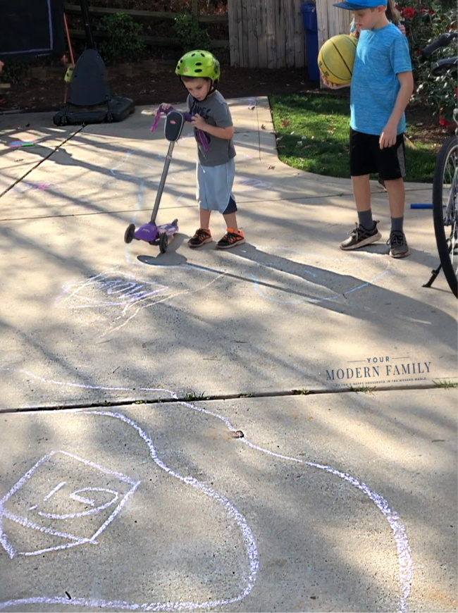 Street Chalk Art for kids to ride scooters & bikes on