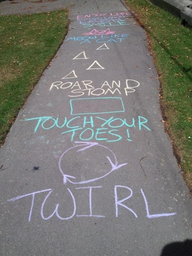 sidewalk chalk obstacle course